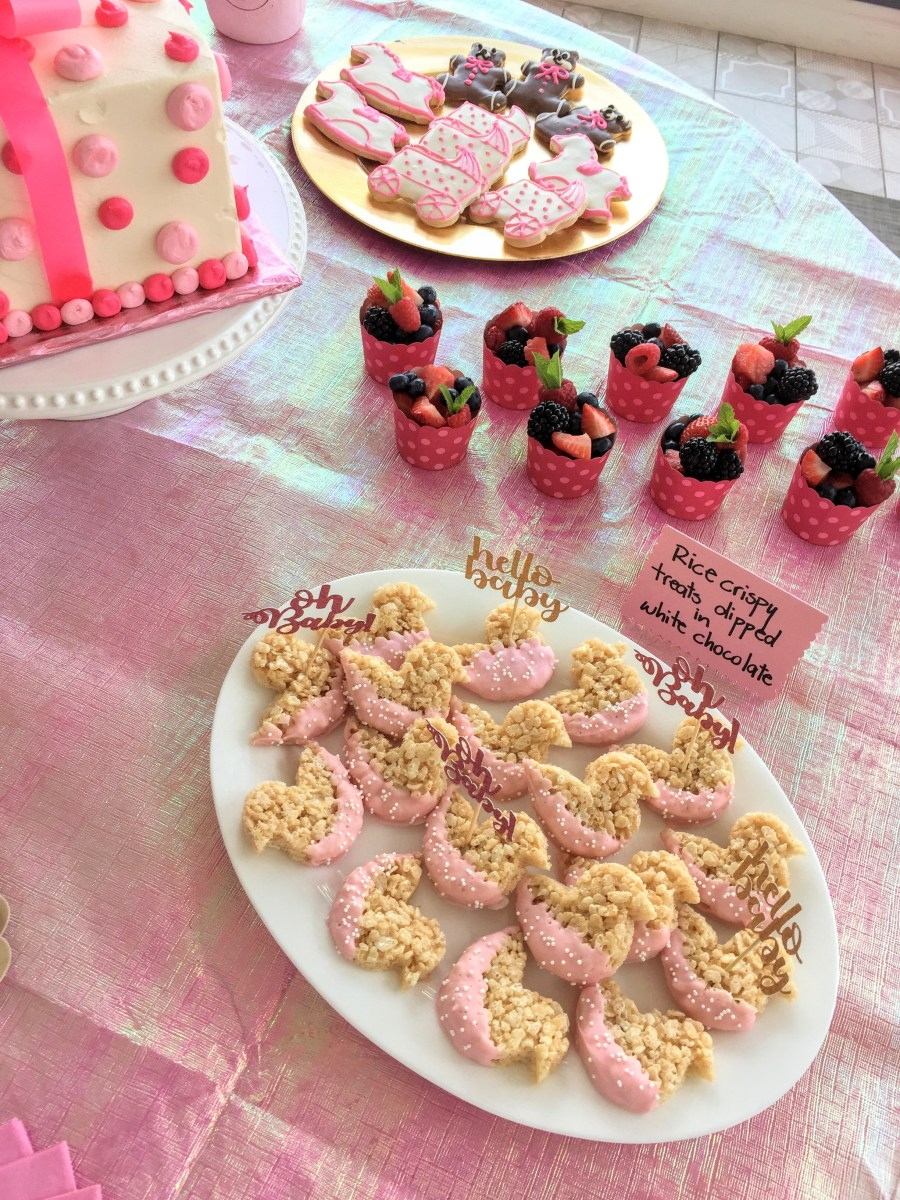 pink desserts baby girl shower