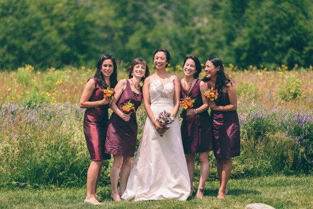 Wine-Colored Bridesmaid Dresses