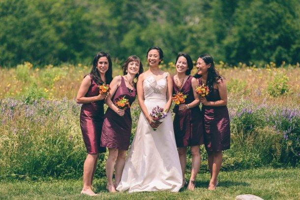 Wine-Colored Bridesmaid Dresses