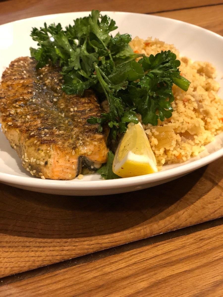 Salmon Za'atar - Cafe Landwer - Where the BlueBoots Go
