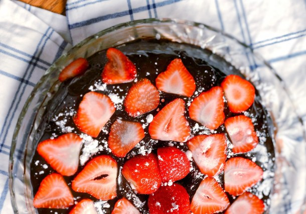Flourless Chocolate Ganache Cake with Strawberries | Where the BlueBoots Go
