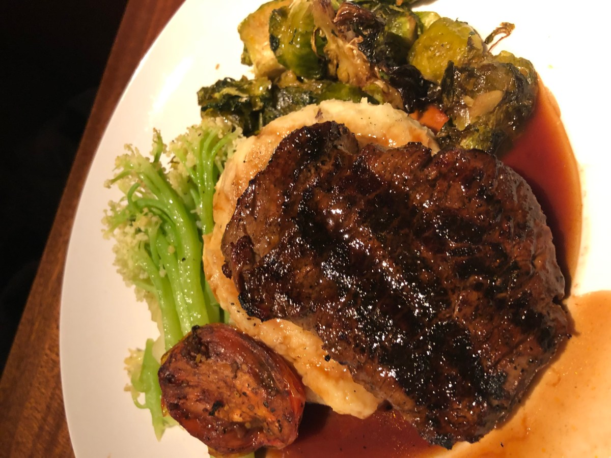 Filet Mignon with Caulini, Yukon Mash, Brussels Sprouts - Harvest Menu - Seasons 52 | Where the BlueBoots Go