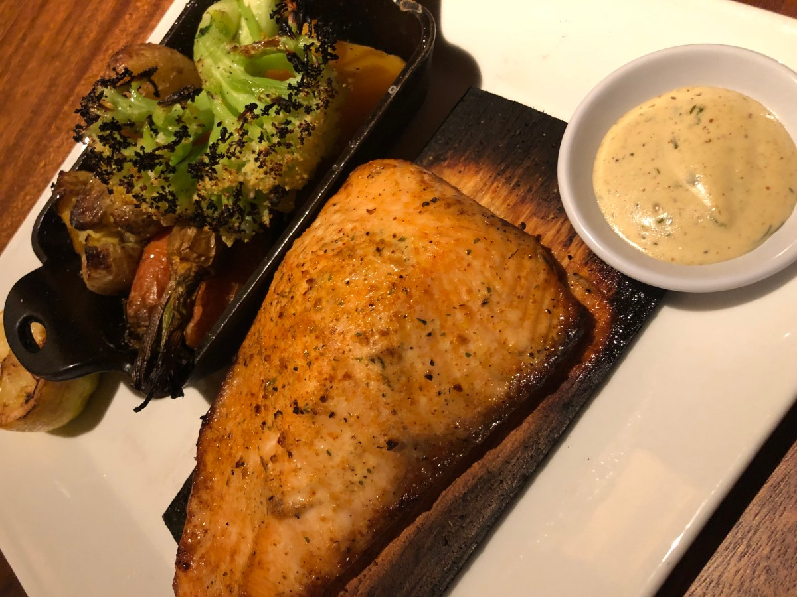 Cedar Plank-Roasted Salmon - Harvest Menu - Seasons 52   Where the BlueBoots Go