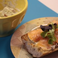 Open-face Smoked Salmon and Pesto & Sun Dried Tomato Goat Cheese Ciabatta Sandwich