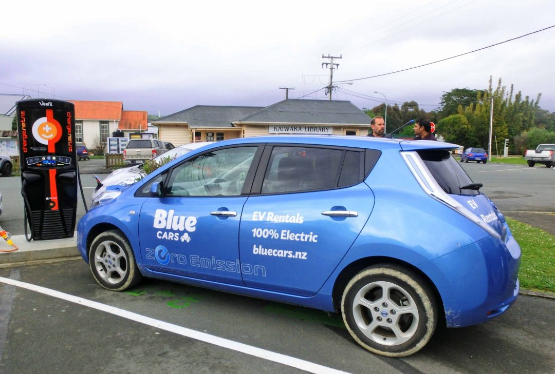 Blue Cars Leaf at First Fast Charger