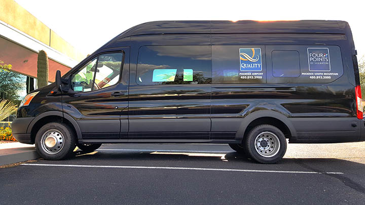 Vehicle Graphics for Courtesy Vans using perforated window film