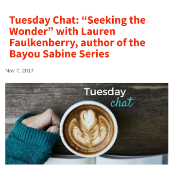 Nov. 2017: Faulkenberry on the Tall Poppy Writers blog featuring The Bayou Sabine Series