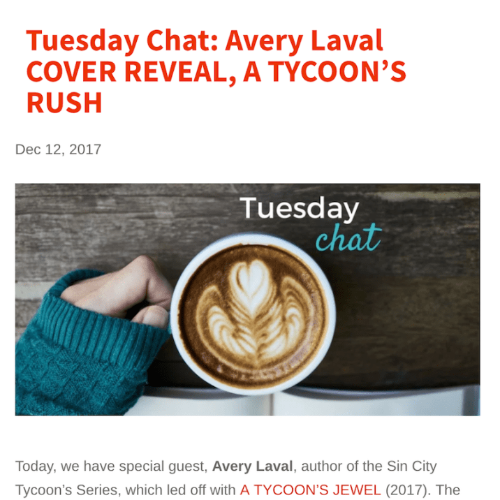 Dec. 2017: Cover Reveal of Laval's A TYCOON'S RUSH on the Tall Poppy Writers Blog