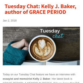 Jan. 2018: Baker interview on the Tall Poppy Writers blog featuring GRACE PERIOD