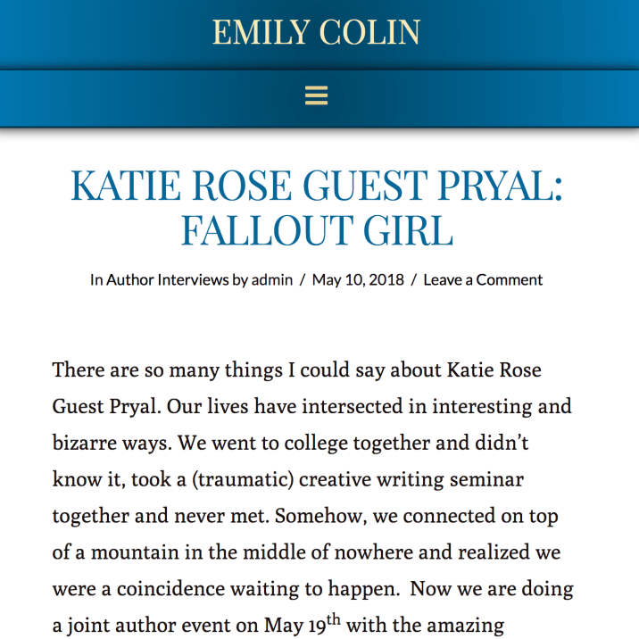 May 2018: Interview of Pryal on author Emily Colin's Blog