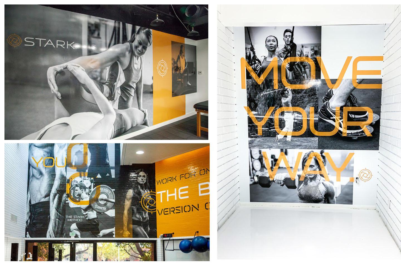 Stark branding at fitness center by creative marketing agency