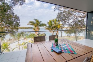 Inside the water view unit at the Blue Dolphin caravan park Yamba
