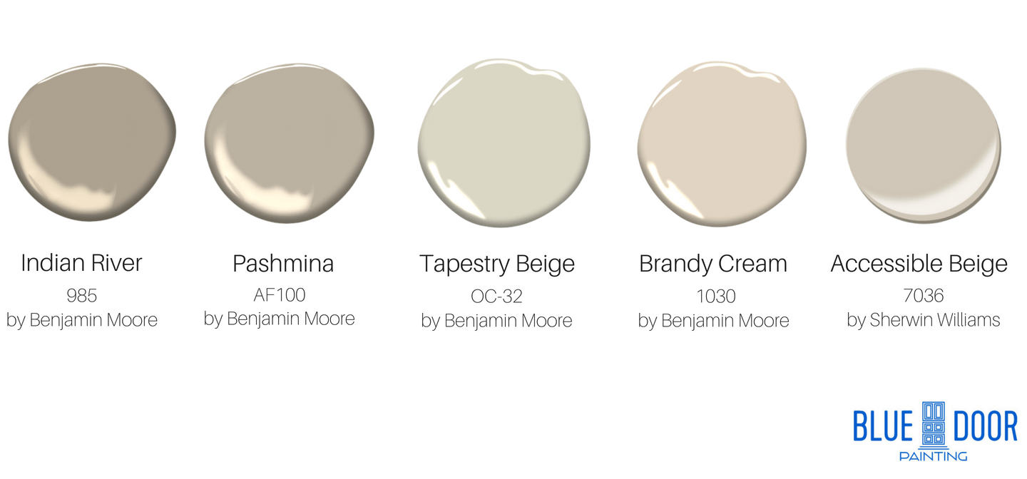 Indian River 985 Benjamin Moore, Pashimna AF100 Benjamin Moore, Tapestry Beige OC-32 Benjamin Moore, Brandy Cream 1030 Benjamin Moore, Accessible Beige 7036 Sherwin Williams