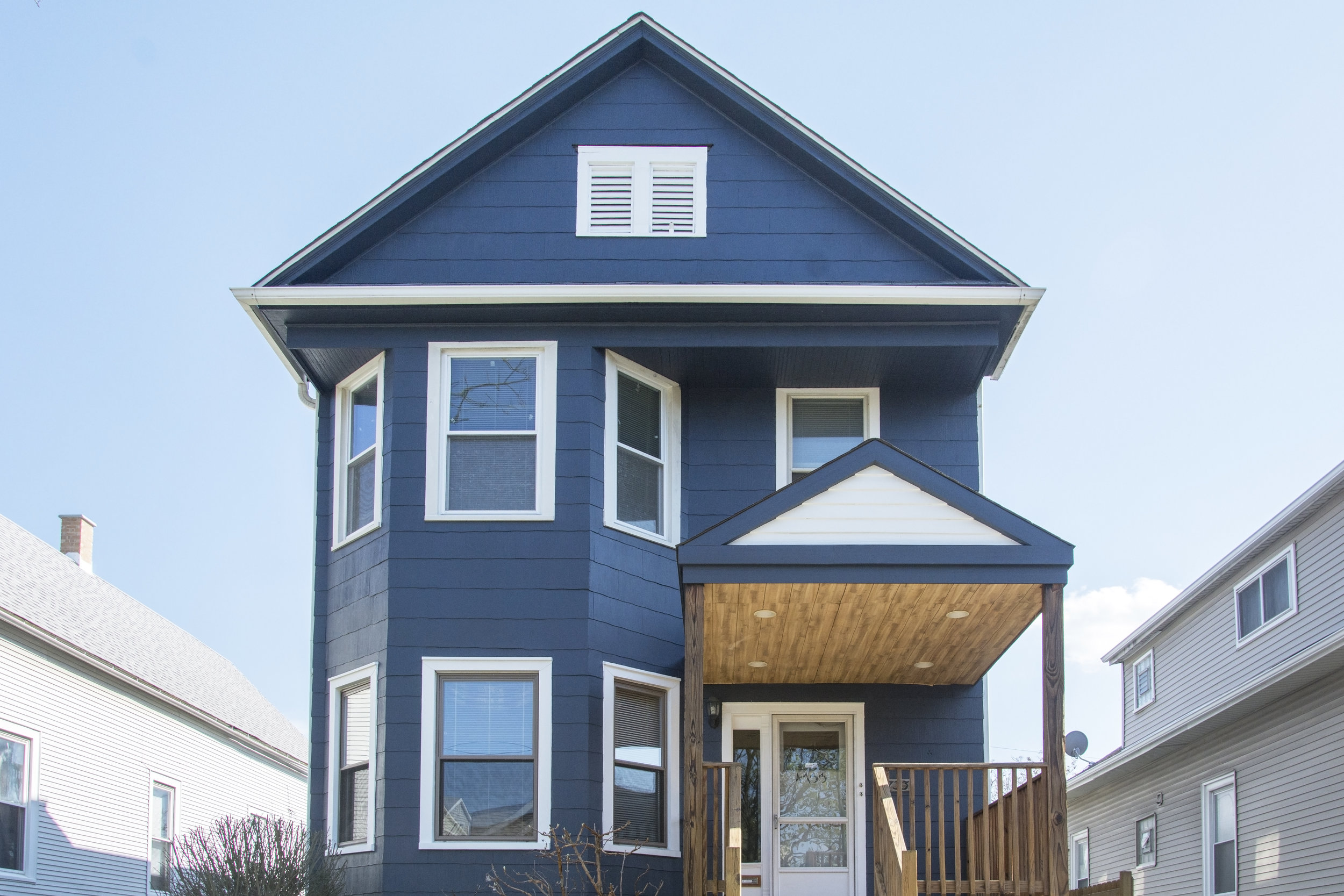 Exterior Painting Transformation Blue Door Painting