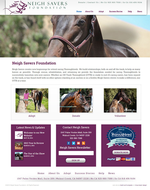 WordPress site for Neigh Savers
