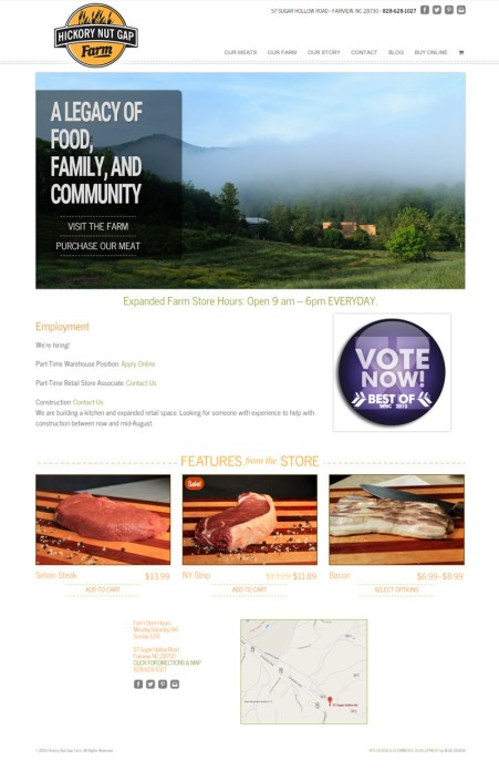 Web Design for Hickory Nut Gap Farm