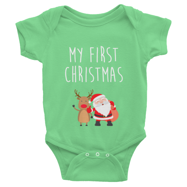 My First Christmas Onesie Custom Apparel Blue Elephant