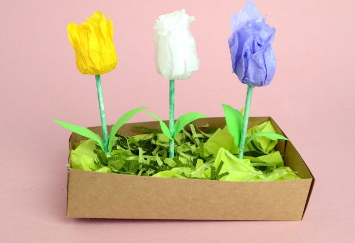 DIY Tissue Paper Tulip Garden to make with kids