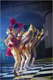 Showgirls performing a kickline