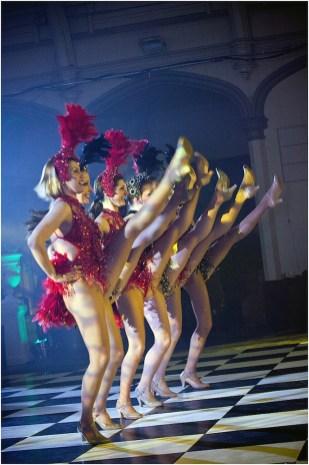 Showgirls performing a kickline