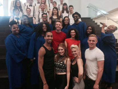 Amazing gospel choir and dancers posing for a photo whilst filming retirement flash mob.