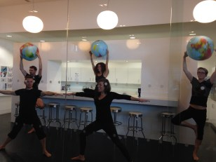 Yoga dancers getting in place for retirement flash mob.