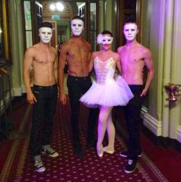 Male and female ballet dancers at an event