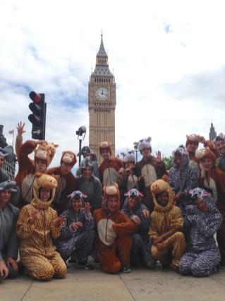 Animal flash mob outside Big Ben, London