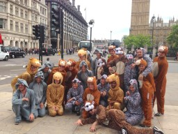 Animal Flashmob outside Big Ben in London