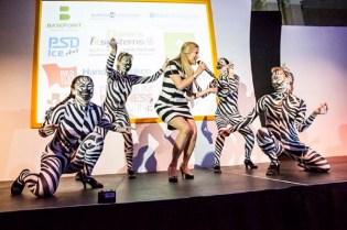 Zebra dancers and singer