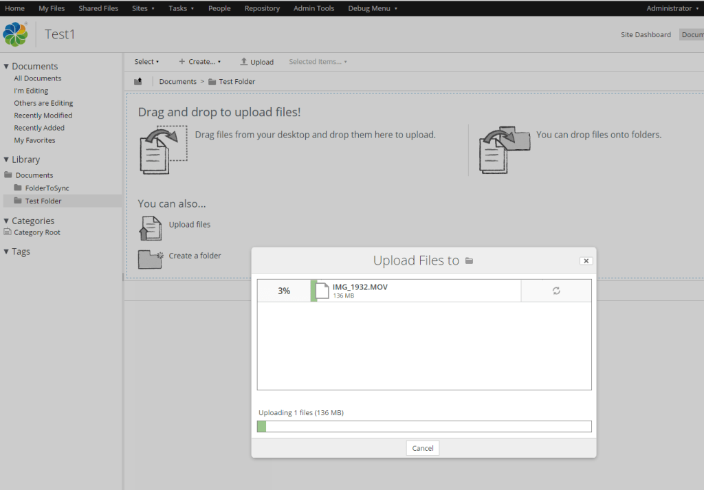 large file uploads with