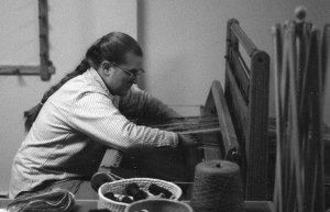 Kristie in her Alaska weaving studio, 1988