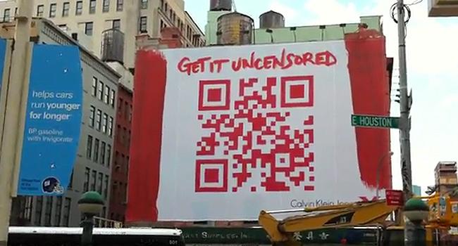QR Codes used on Calvin Kein Billboard Advertising