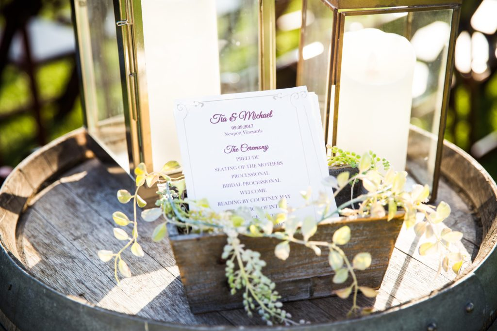 burgundy wedding ceremony program cards