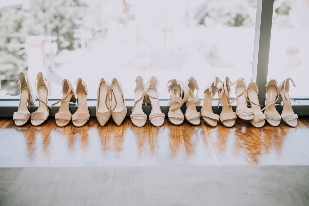 Sasha and Michael | bridemaids heels in nude, 6 pairs