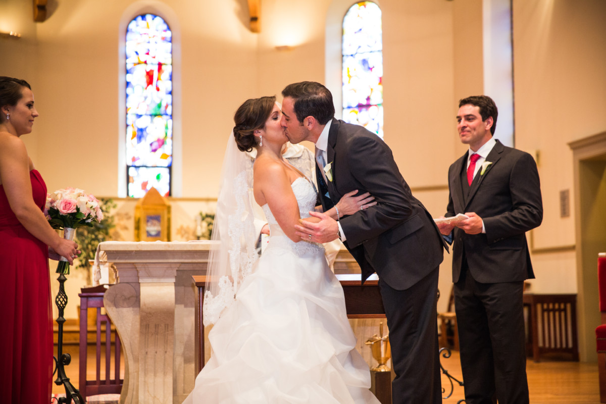 Lauren and Jimmy   Wedding at the Providence Biltmore   First kiss at PC chapel