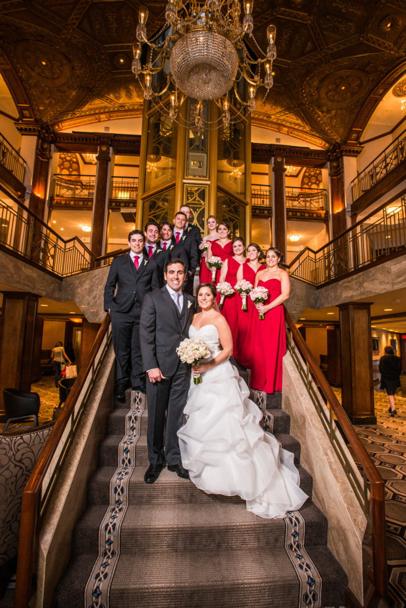 Lauren and Jimmy   Wedding at the Providence Biltmore   Wedding party on the grand staircase