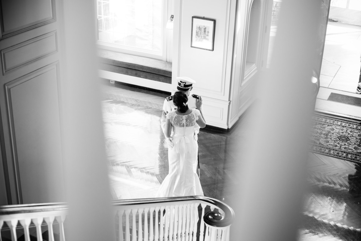 Eolia Mansion Wedding - First Look on the stairs