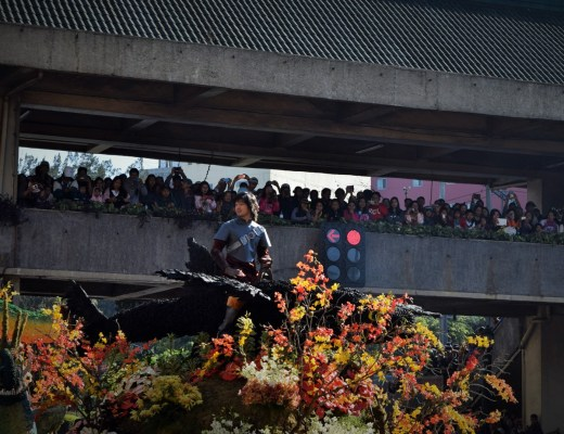 Man waves at crowd at Panagbenga flower festival 2015.