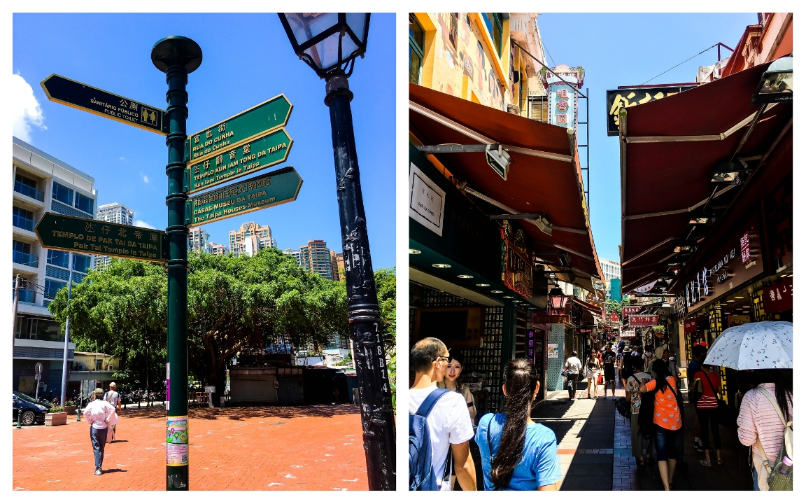 Left Photo: Taipa Village Macau Street Signs, Right Photo: Rua do Cunha/Food Street