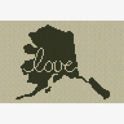 Alaska Love C2C Crochet Pattern Corner to Corner Cross Stitch Graphghan Blue Frog Creek