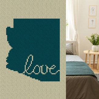 Arizona Love C2C Afghan Crochet Pattern Corner to Corner Graphghan Cross Stitch Blue Frog Creek