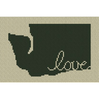 Washington Love C2C Afghan Crochet Pattern Corner to Corner Graphghan Cross-stitch Blue Frog Creek