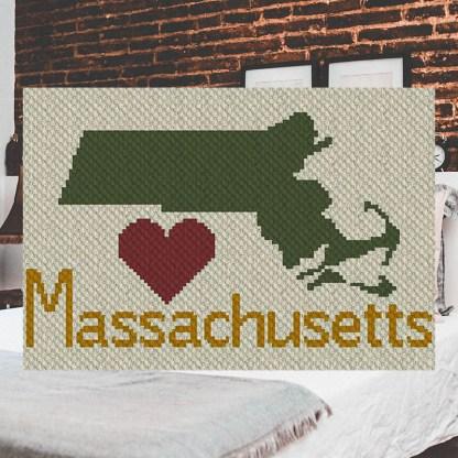Heart Massachusetts C2C Corner to Corner Crochet Pattern