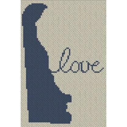 Delaware Love C2C Afghan Crochet Pattern Corner to Corner Blanket Graphghan Cross Stitch Blue Frog Creek