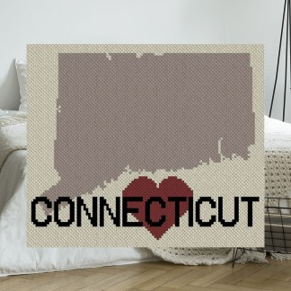 Heart Connecticut C2C Crochet Pattern Corner to Corner Graphghan Cross-Stitch Blue Frog Creek