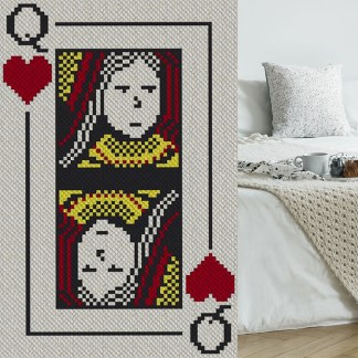 Queen of Hearts C2C Afghan Crochet Pattern Corner to Corner Crochet Cross Stitch Graphghan Blue Frog Creek