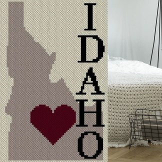 Heart Idaho C2C Afghan Crochet Pattern Corner to Corner Crochet Blanket Graphghan Cross Stitch Blue Frog Creek