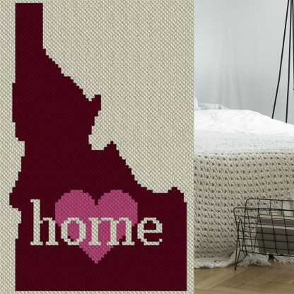 Idaho Home C2C Afghan Crochet Pattern Corner to Corner Blanket Cross Stitch Graphghan Blue Frog Creek