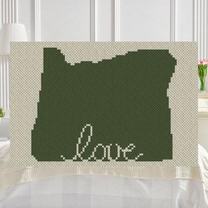 Oregon Love C2C Afghan Crochet Pattern Corner to Corner Blanket Graphghan Cross Stitch Blue Frog Creek